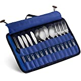 13 Piece Stainless Steel Family Cutlery Picnic Utensil Set with Travel Case for Camping   Hiking   BBQs - Includes Forks   Spoons   Knifes   Chopstick, Plus Nylon Commuter Case