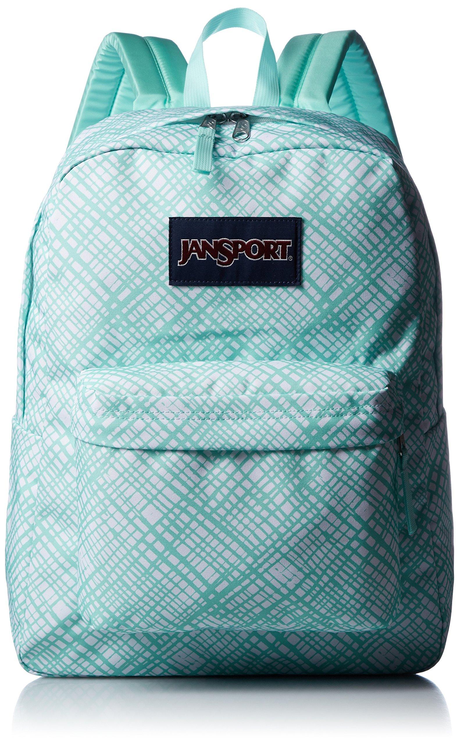 JanSport Womens Classic Mainstream Superbreak Backpack - Aqua Dash Jagged Plaid / 16.7'' H X 13'' W X 8.5'' D