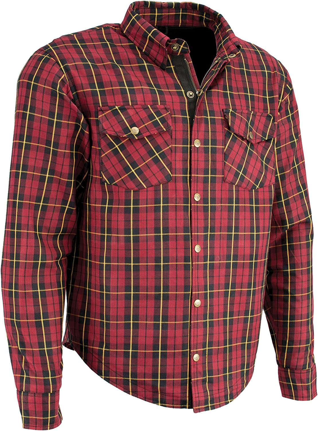 Black//Red//Yellow, L Milwaukee Performance Mens Checkered Flannel Biker Shirt With Aramid