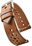 Alpine Hand Made Genuine Vintage Full Grain Leather Watch Strap with Quick Release Spring Bars - Black, Bown, Tan - 20mm…