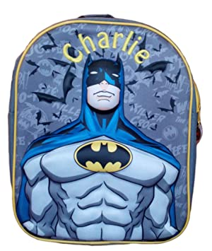81f076688e Personalised 3D Batman School Bag. DC Comics Backpack   Rucksack. Black    Blue
