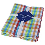 Classic Kitchen Towels, 100% Natural Cotton, The Best Tea Towels, Dish Cloth, Absorbent And Lint-Free, Machine Washable, 16 x 24 Inch, 3 Pack, Multi Plaid