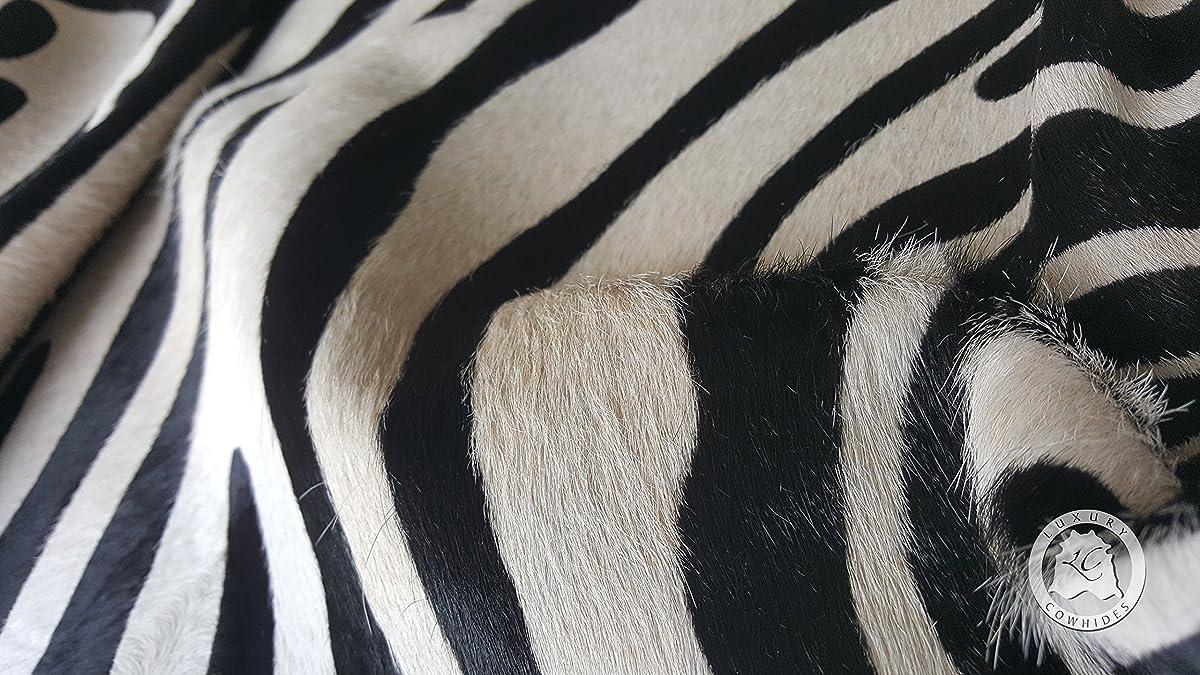 Zebra Black on Off White Animal Print Cowhide Rug 6ft x 7ft 180cm x 210cm