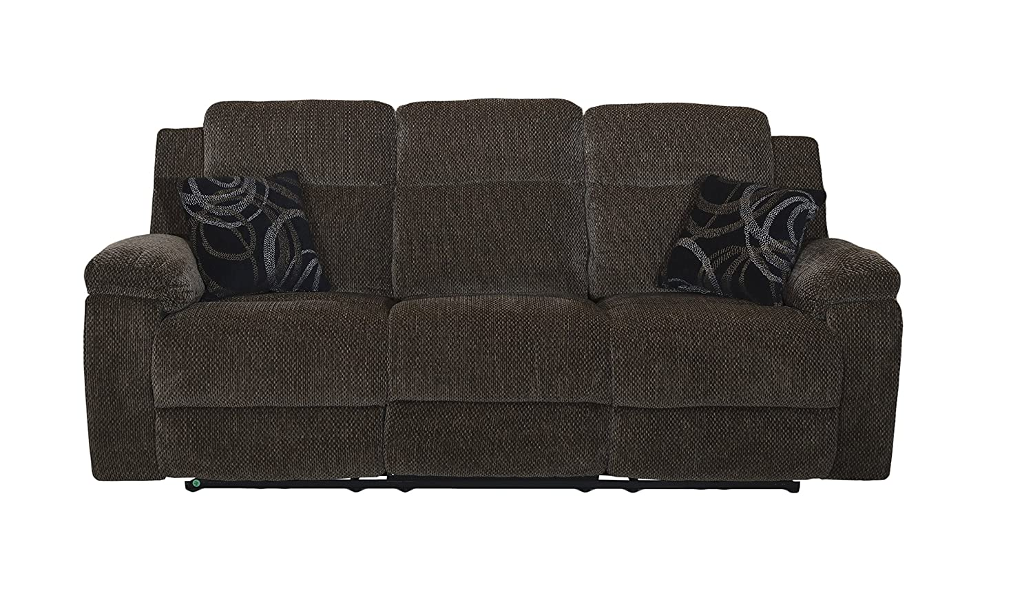 New Classic Furniture U4050-30-EBO Burke Upholstery Recliner Sofa, Manual, Light Ebony