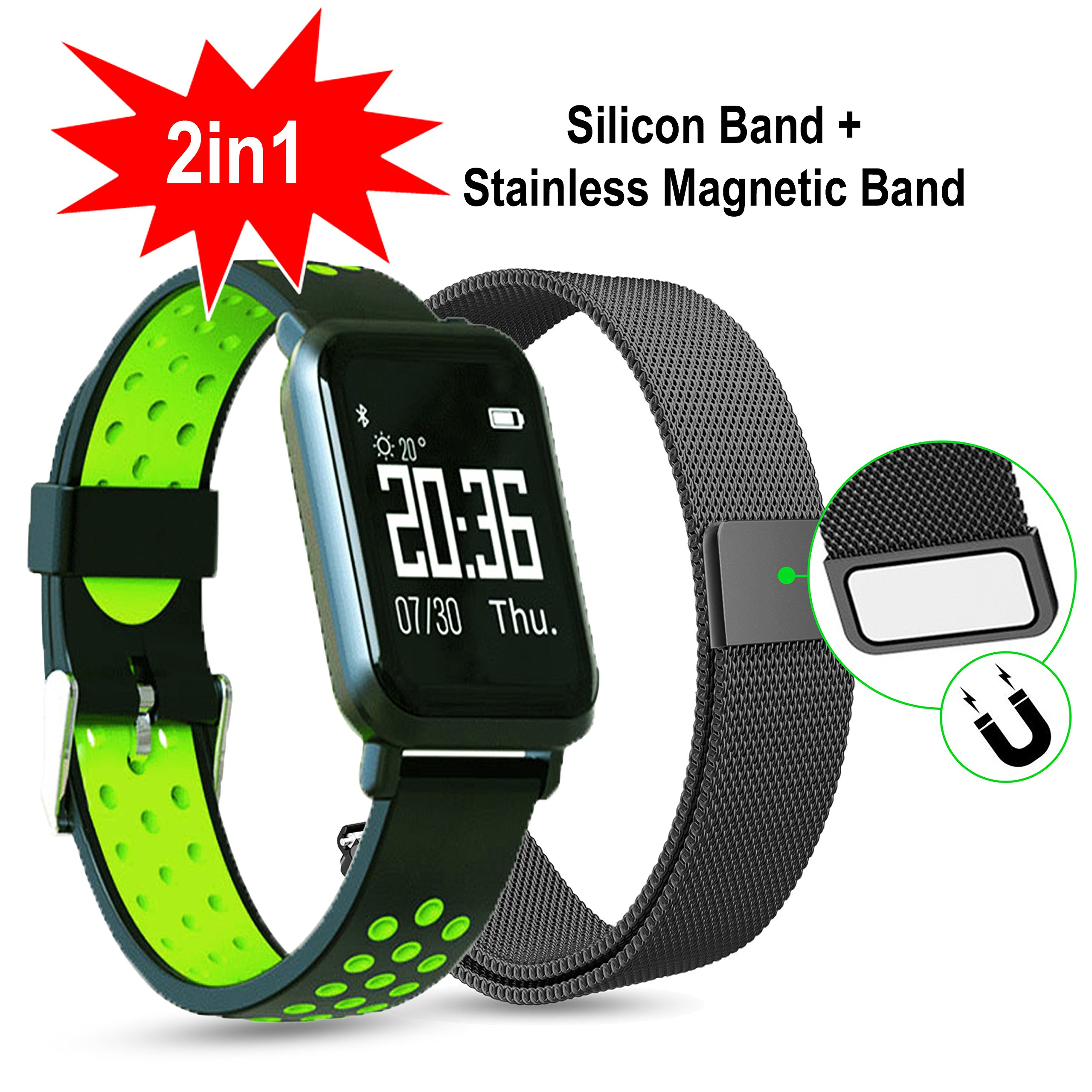Smartwatch for iphone,gorilla glass touchscreen smartwatch IP68 fitness tracker with heart rate monitor