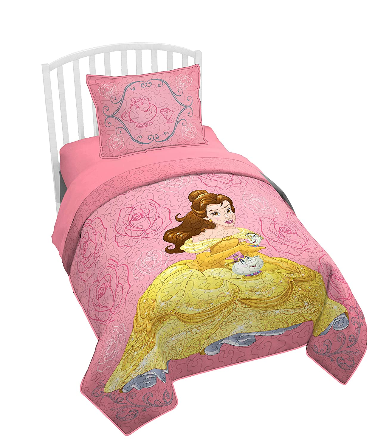 Jay Franco Disney Beauty and The Beast Belle Twin/Full Quilt & Sham Set - Super Soft Kids Bedding Features Belle - Fade Resistant Polyester (Official Disney Product)