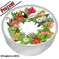 Precortado Tropical flores y pájaros B VIII. Para Tarta (7