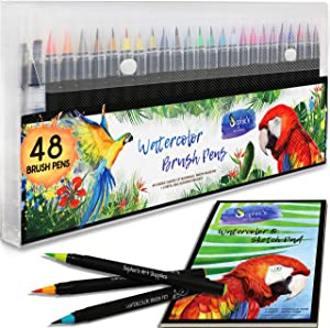 Premium Watercolor Real Brush Pens by Sophie's Art Supplies [48 Pack]. Vibrant Water Soluble Ink. Flexible Brush Tips for Watercolor Effects, Coloring and Calligraphy. Free Blending Brush + Pad!