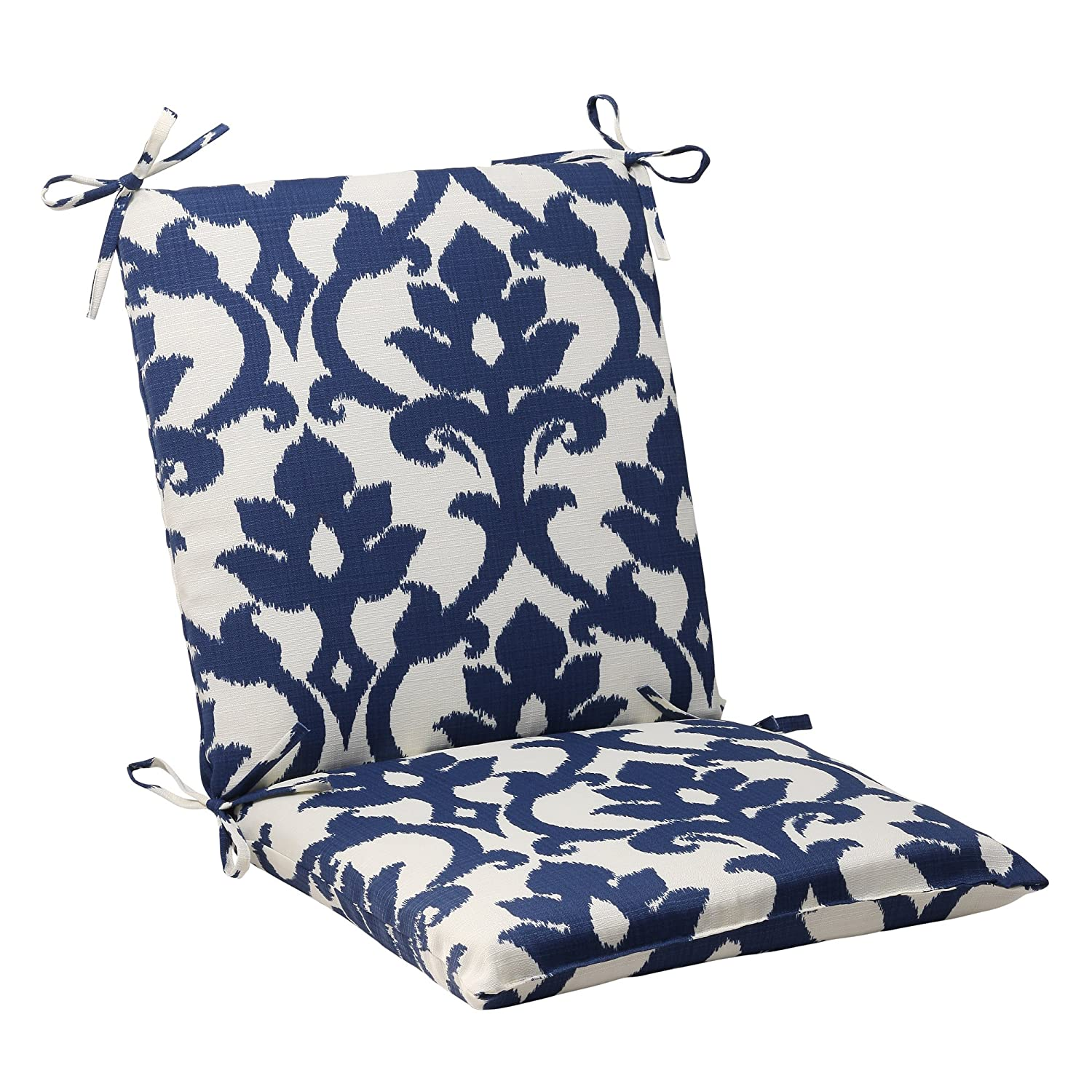 Pillow Perfect Outdoor Bosco Squared Chair Cushion, Navy