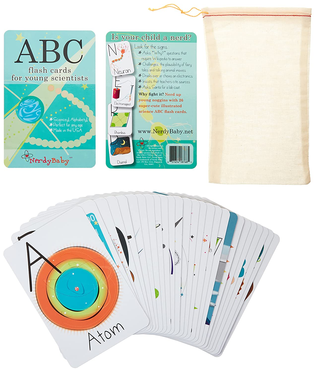 Amazon Com Nerdy Baby Abc Flashcards For Very Young Scientists