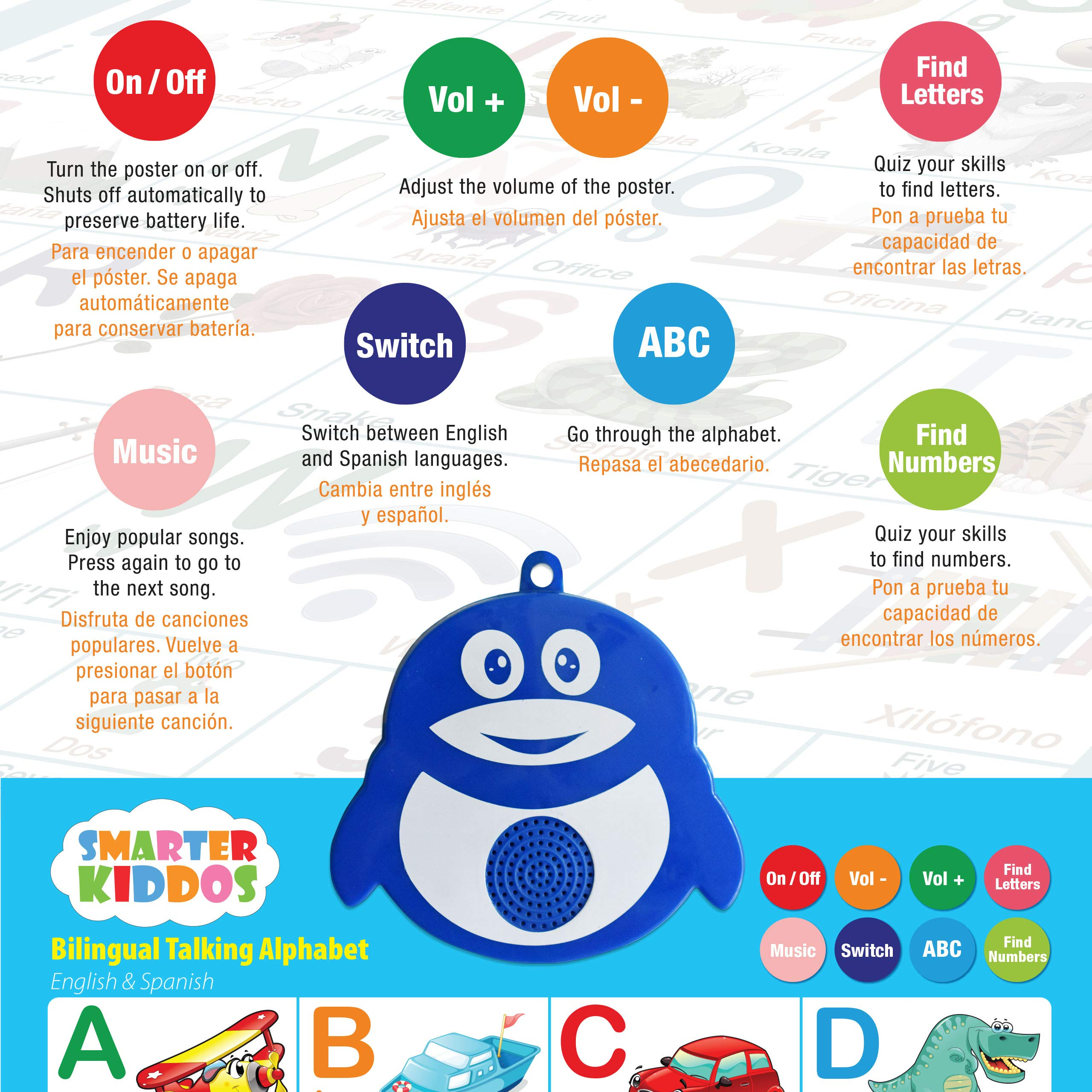 Bilingual Talking Alphabet Poster: Music + ABC + 123s English & Spanish. Best Toddler Educational Toys & Learning toys for 2-5 years olds. Perfect for Daycare, Preschool, Kindergarten for Boys & Girls by LVAP (Image #4)