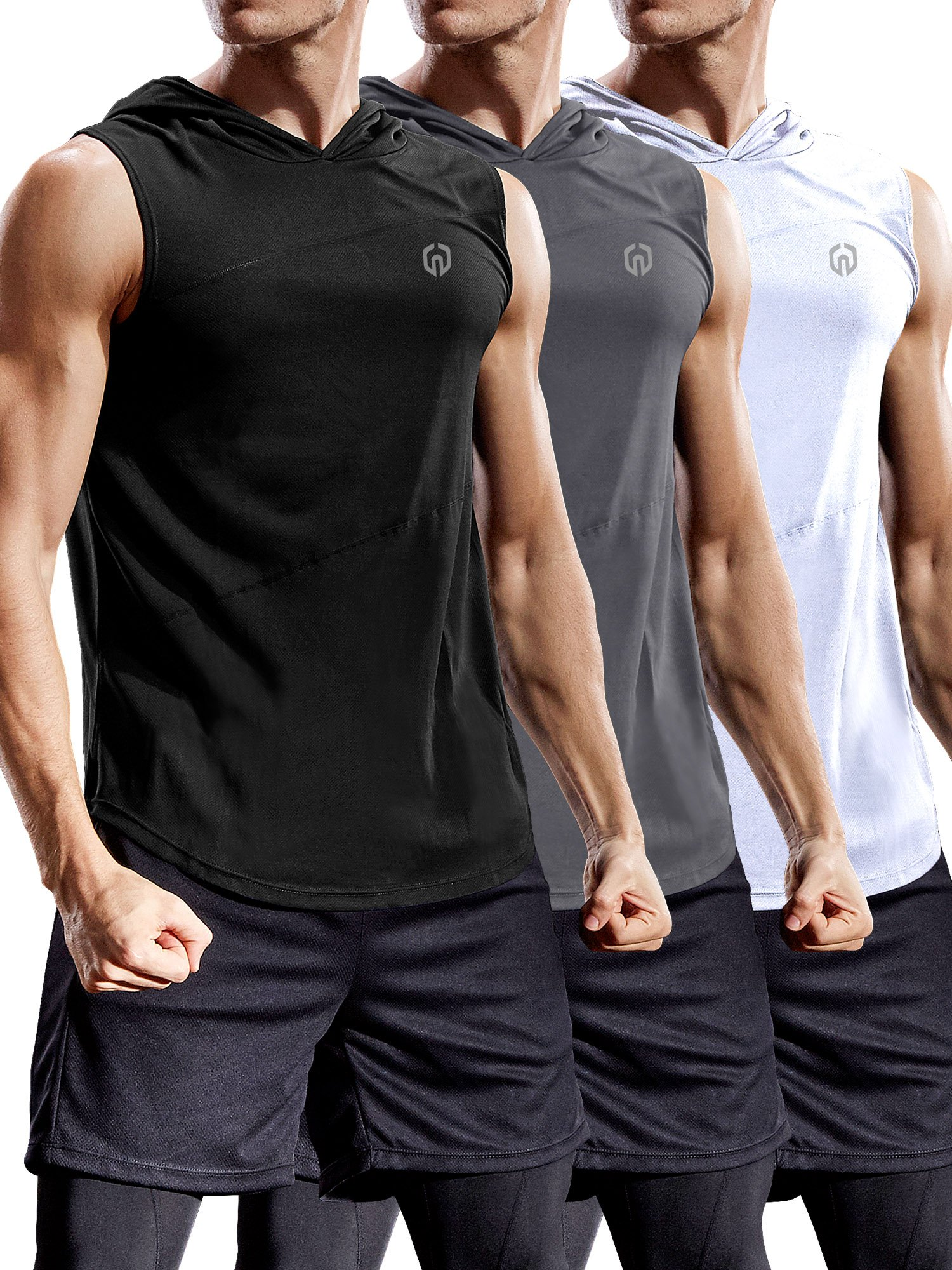 Neleus 3 Pack Workout Athletic Gym Muscle Tank Top with Hoods,5036,Black,Grey,White,US M,EU L by Neleus