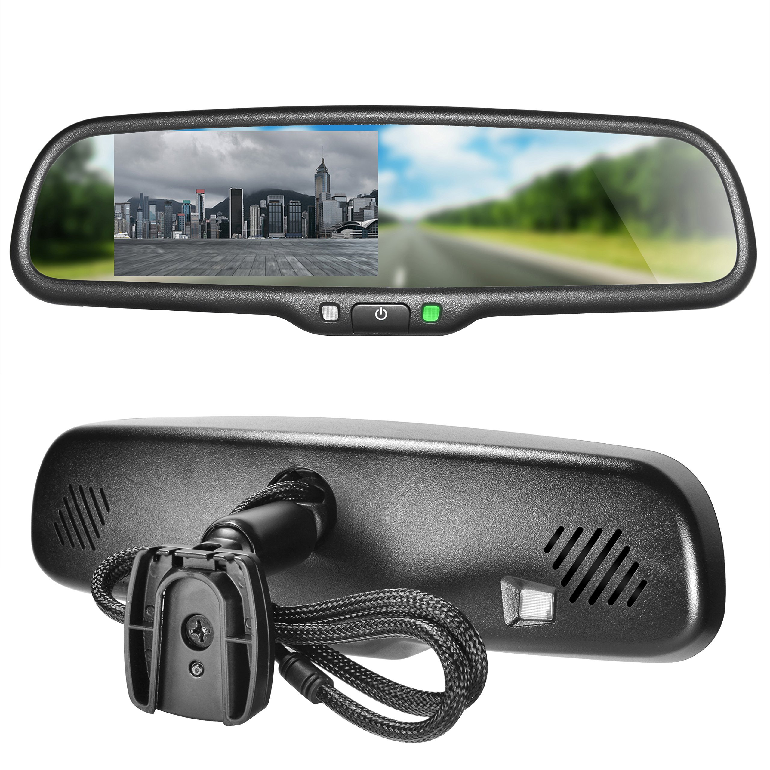 Master Tailgaters OEM Rear View Mirror with 4.3'' Auto Adjusting Brightness LCD - Rearview Universal Fit