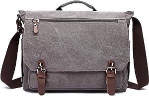 Gimay 15 inch Laptop Messenger Bag Canvas Briefcase Computer Bag (Grey)