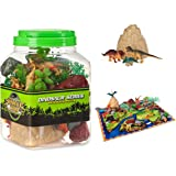 Dinosaur Toys Play Set - 48 Piece Playset of Realistic Figures in a Bucket Including Dinosaurs, Trees, Rocks & Fold Up Playmat. Great Fun & Adventure Play for Boys & Girls by Planet 9