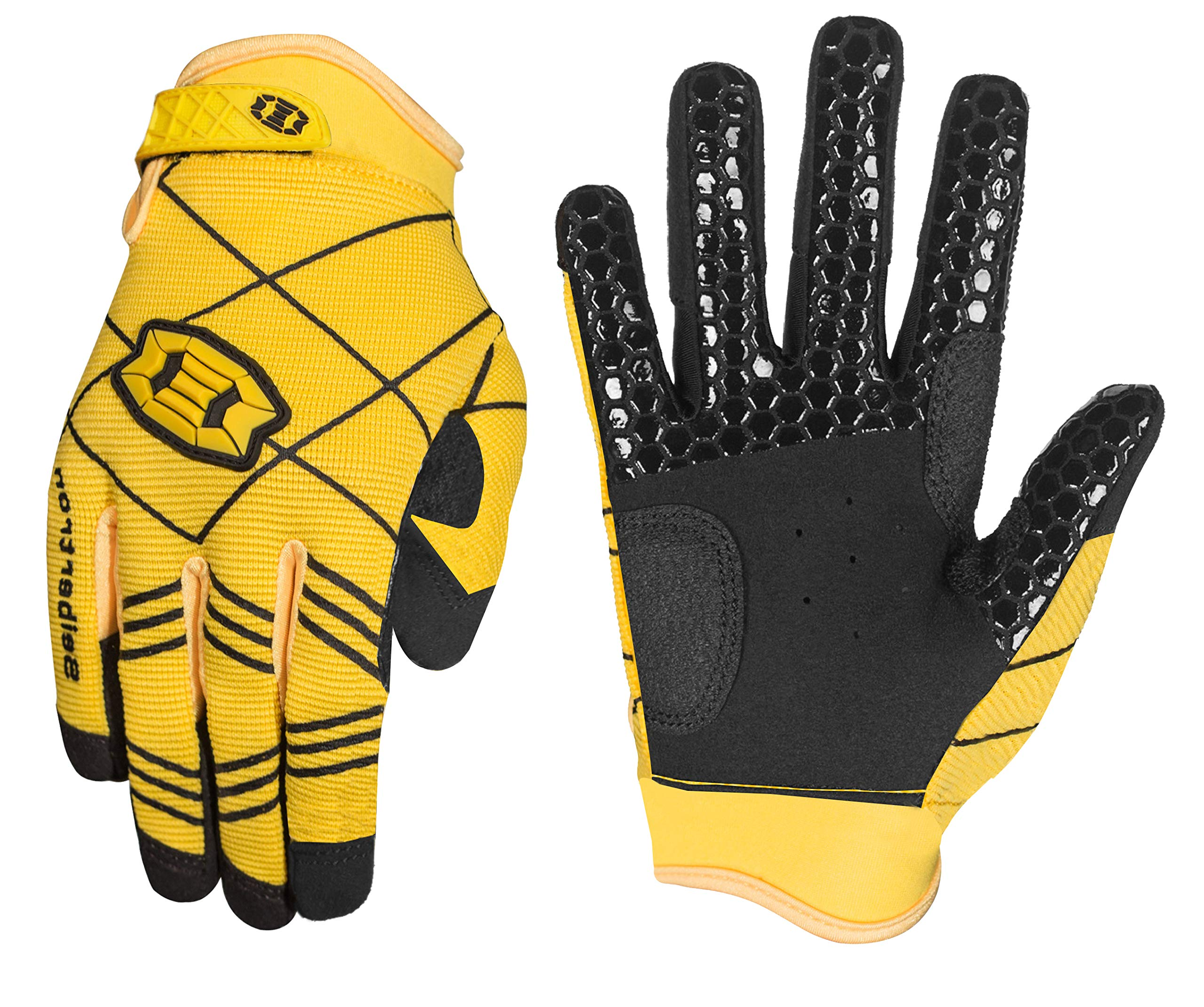 Seibertron B-A-R PRO 2.0 Signature Baseball/Softball Batting Gloves Super Grip Finger Fit for Youth Yellow XS