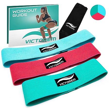Victorem Booty Hip Band Theraband Set – 3X Fitnessband für Bein- und Po-Training mit Workout Guide und praktischer Tragetasch