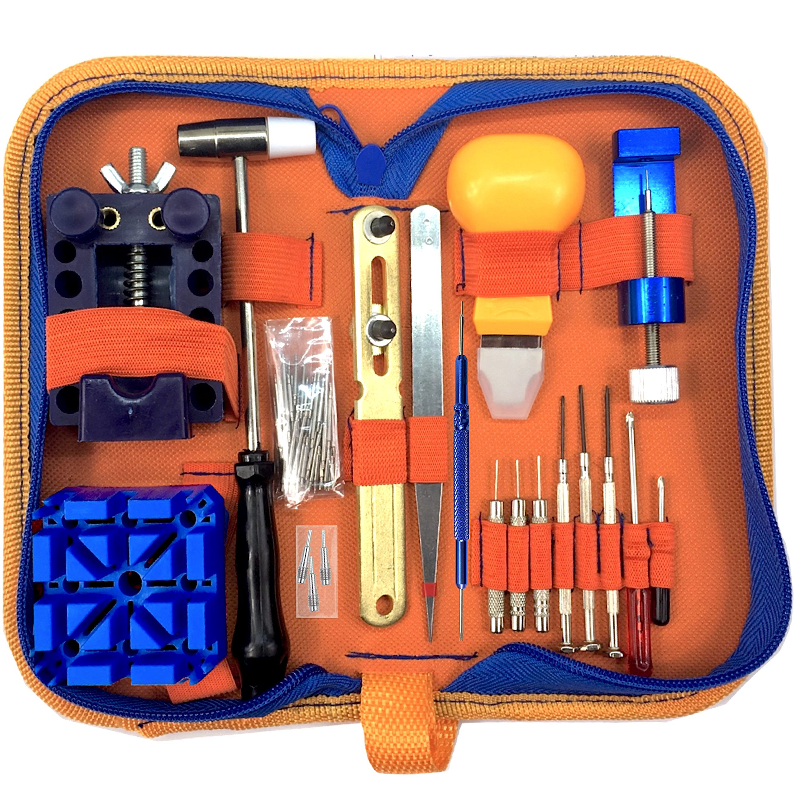 QwikFixxer Watch Repair Kit: 16 Universal Tools, Case Wrench, Watch Band Tool; Plus Free Spring Bars