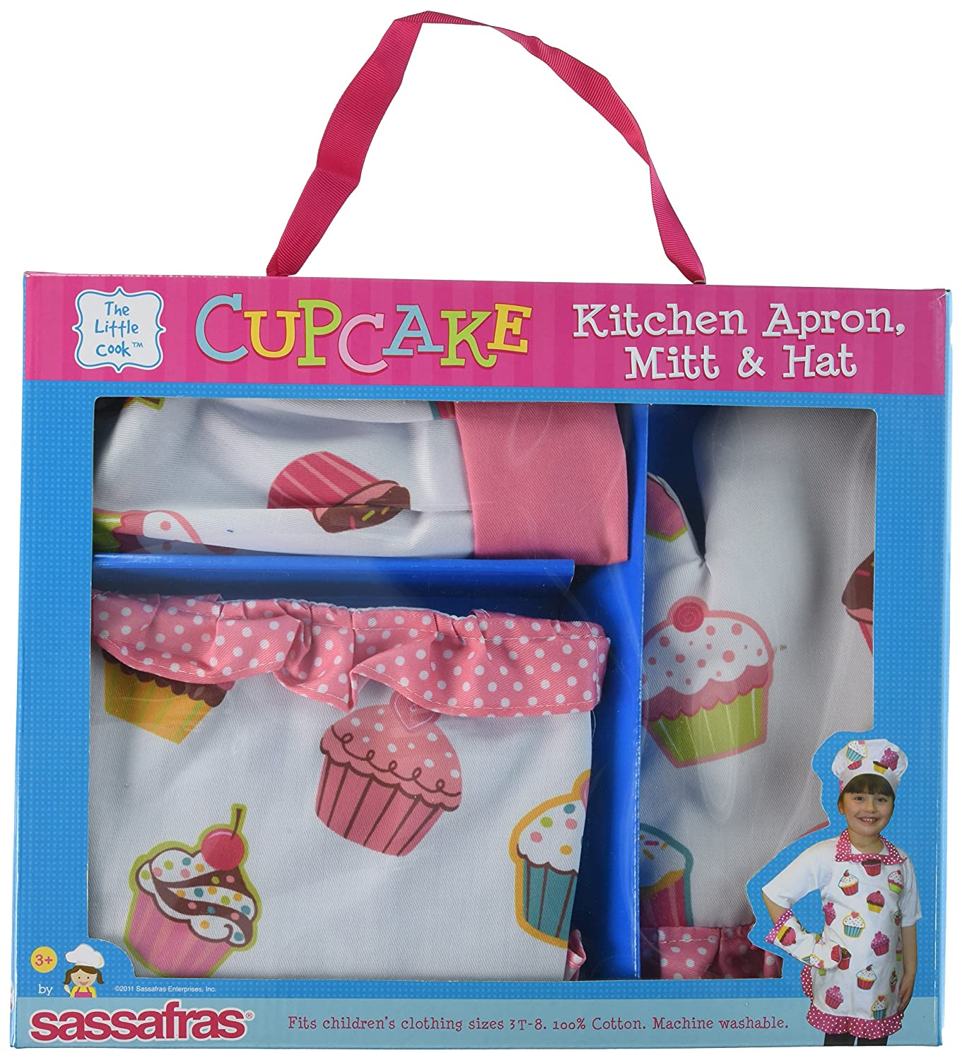 Sassafras The Little Cook Ruffled Cupcake Apron Set includes Apron, Kitchen Mitt and Hat 22108