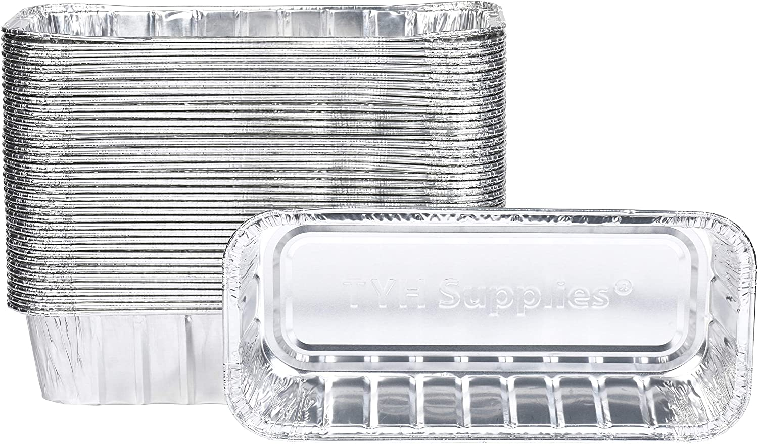 TYH Supplies 50-Pack Aluminum Foil BBQ Grease Drip Pans Compatible with Weber Genesis II LX 400 & 600, Summit 400 & 600 series, Summit Gold & Platinum 6-burner Gas Grill, SmokeFire EX4 EX6 9.75 x 3.75