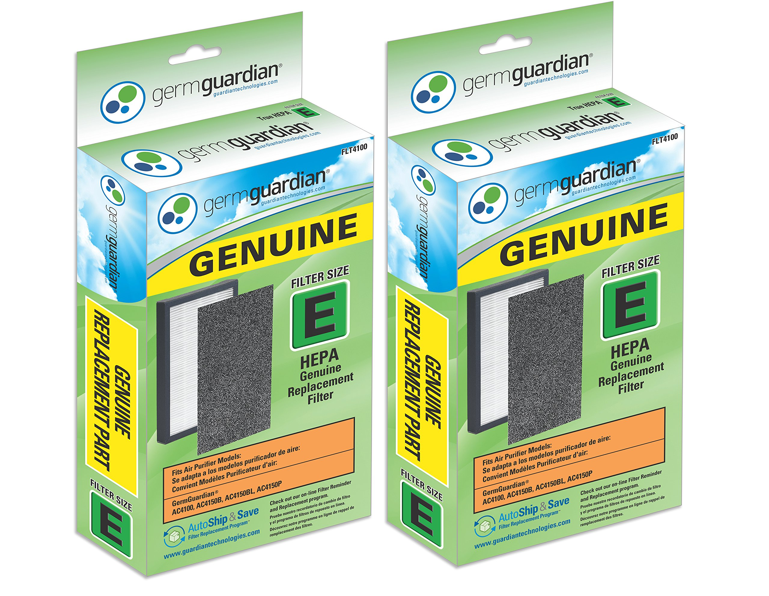 Germ Guardian FLT4100 GENUINE HEPA Replacement Filter E for AC4100/AC4150 GermGuardian Air Purifiers (2)