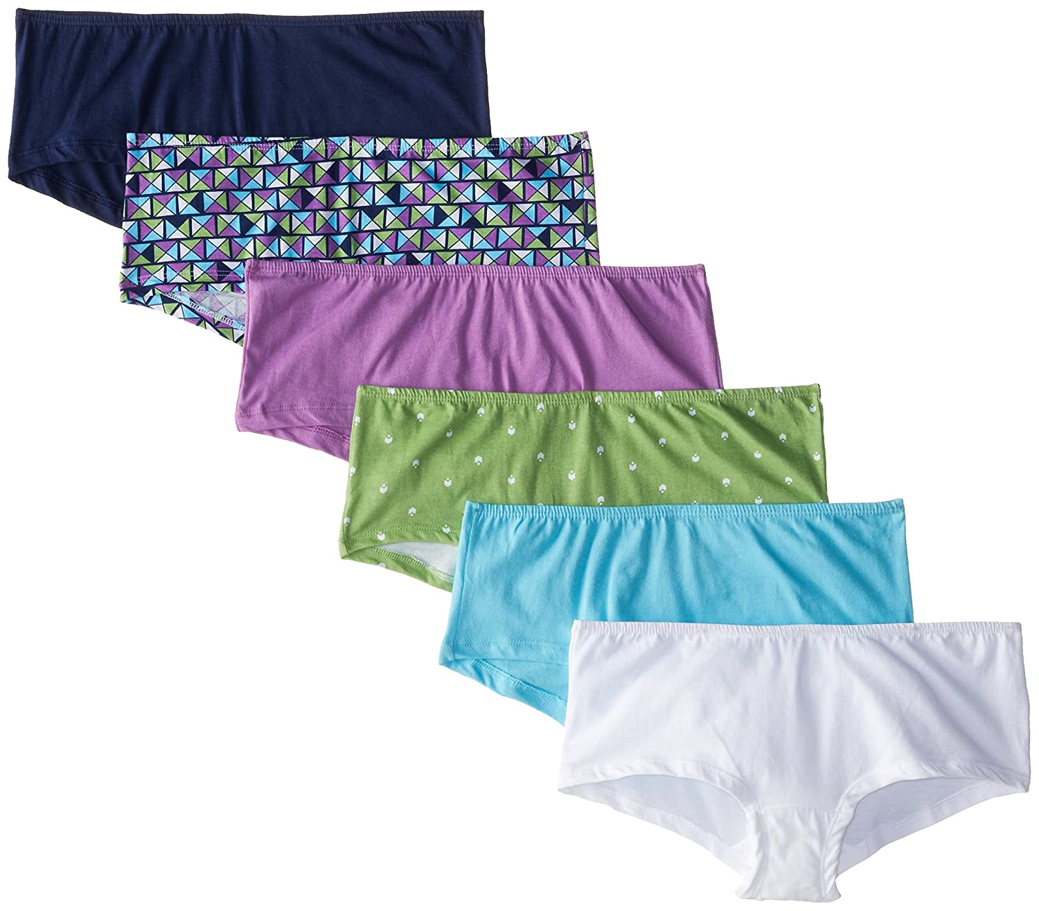 Fruit of the Loom Women's Ladies 6 Pack Comfort Covered Waistband boyshort Panty 6DBS0HP