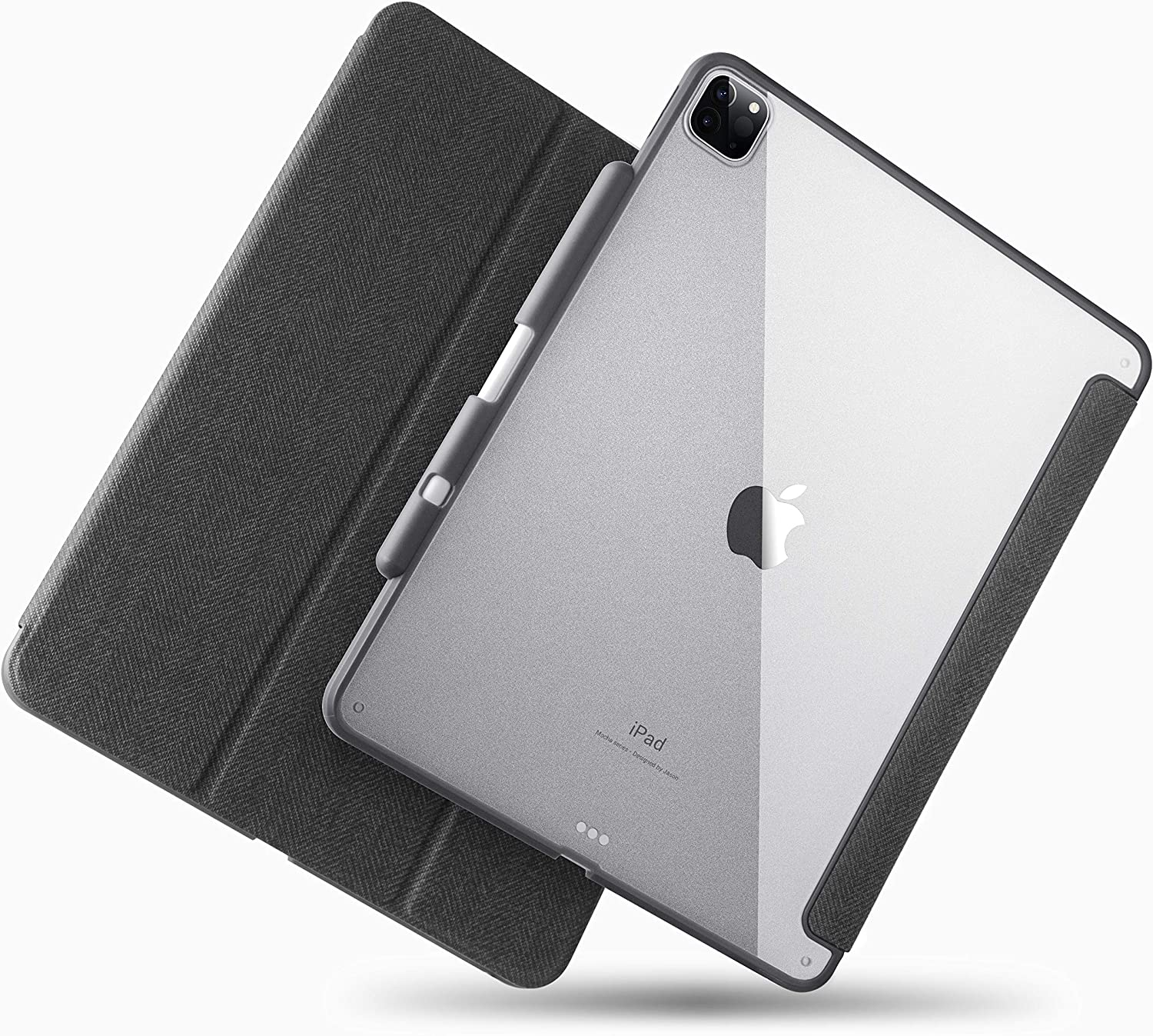 TineeOwl Mocha iPad Pro 12.9 case 2020 & 2018 (4th & 3rd Generation) Ultra-Slim Clear Case with Pencil Holder + Tri-fold Stand Cover, Absorbs Shock, Lightweight (Black)