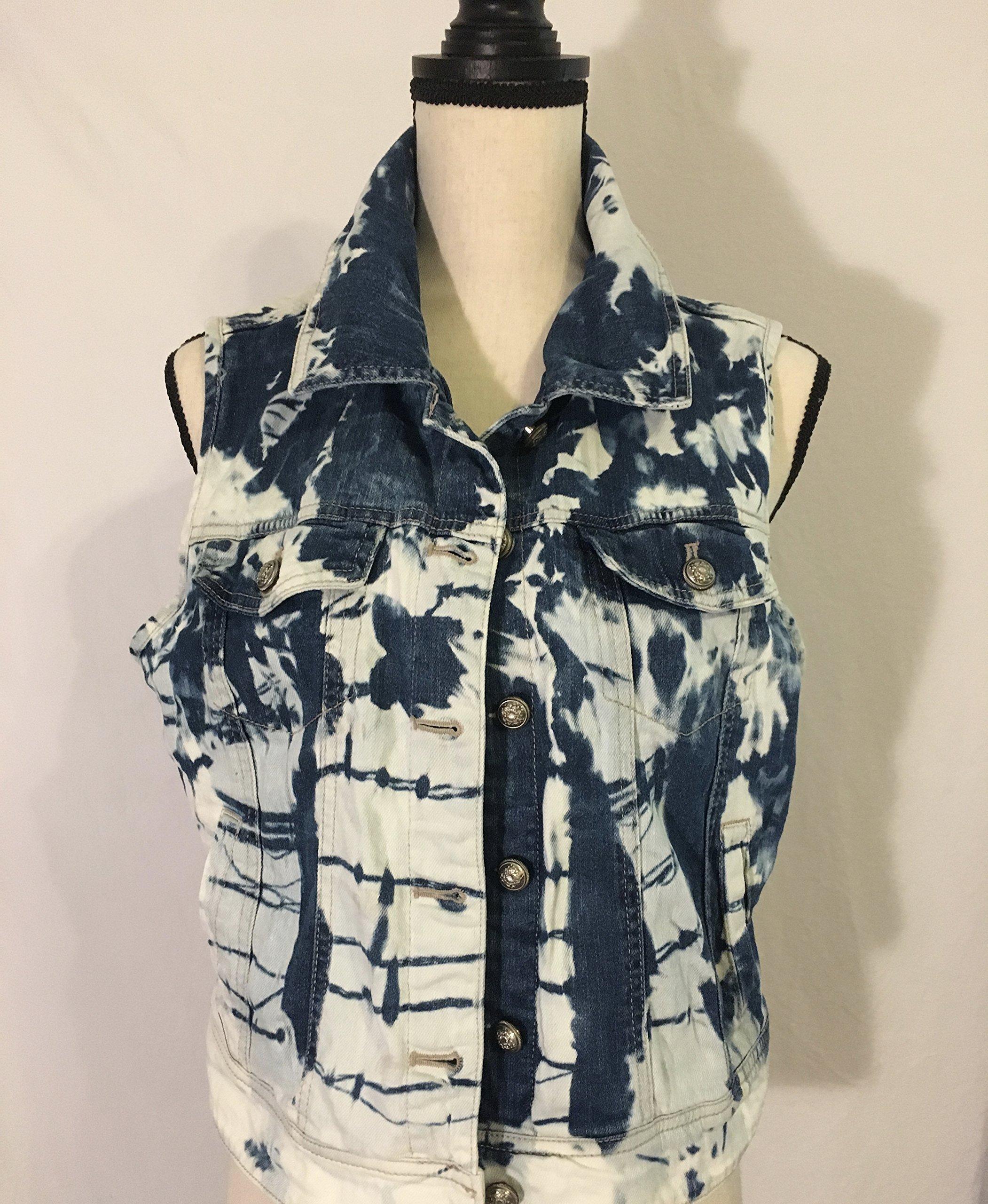 Women's Medium Hand Dyed Tie Dye Denim Vest/Fall Fashion Back to School
