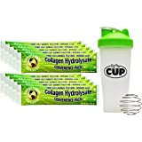 Great Lakes Gelatin Bundle - 10 Single Serve Packets of Collagen Hydrolysate Pure Unflavored Kosher Beef Protein Powder - with Exclusive By The Cup Shaker