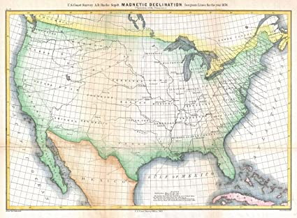 Amazon.com: Historical 1870 U.S. Coast Survey Map Showing Magnetic ...