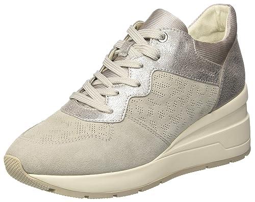Geox D Zosma C, Chaussures Femme, Gris (off Lt Blanc / Gris), 41 Eu