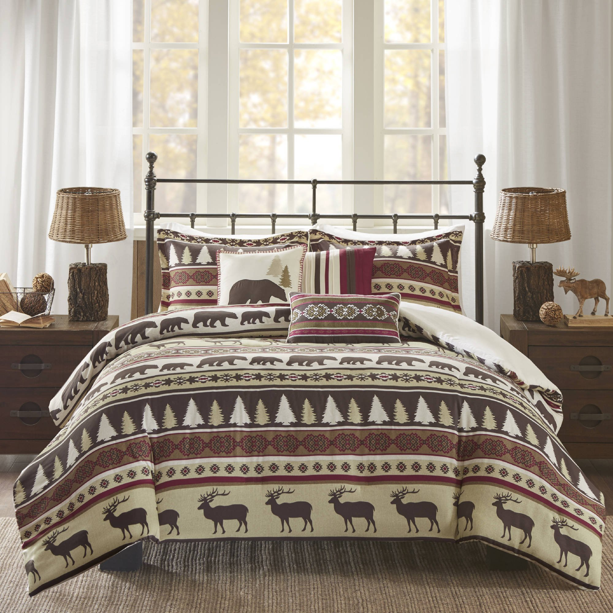 6 Piece Red White Stripe King/Cal King Duvet Cover Set, Lodge Animal Print Themed Bedding, Cabin Country Tartan Pattern Cottage Woods Bears Deer Pine Trees Horizontal Diamond Patterns,Polyester