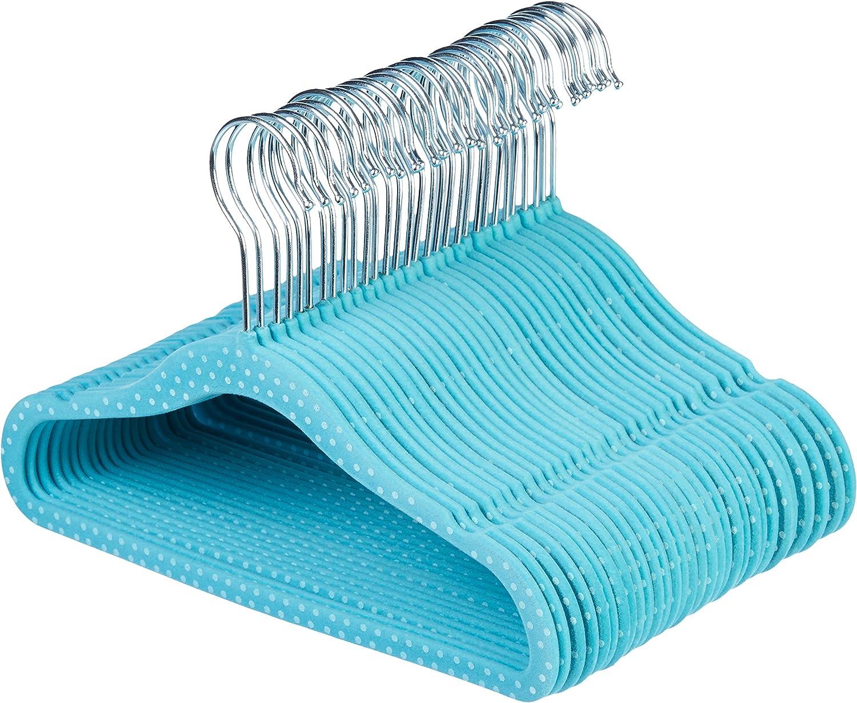 Blau gepunktet Basics Kinderkleiderb/ügel mit Samtbezug 50er-Pack
