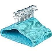AmazonBasics Kids Velvet Non-Slip Clothes Hangers, 30-Pack, Blue Polka Dot