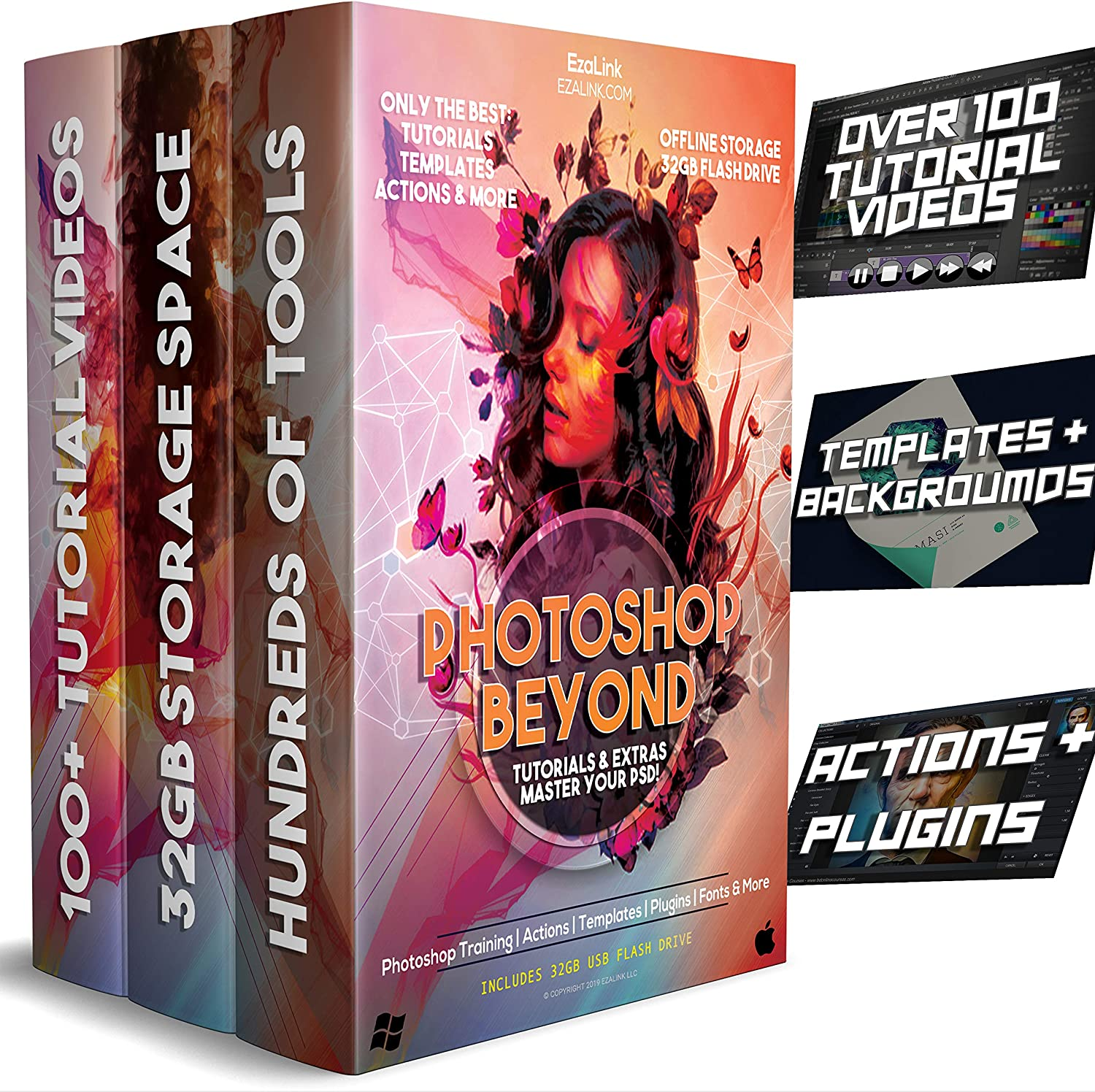 Learn Photoshop Bundle: 100+ Video Tutorials, Accessories, HD Backgrounds, Templates, Fonts, Effects, Actions, Plugins & Guide Book for Beginners & Pro USB - Elements or CC 91smsOw5sXL