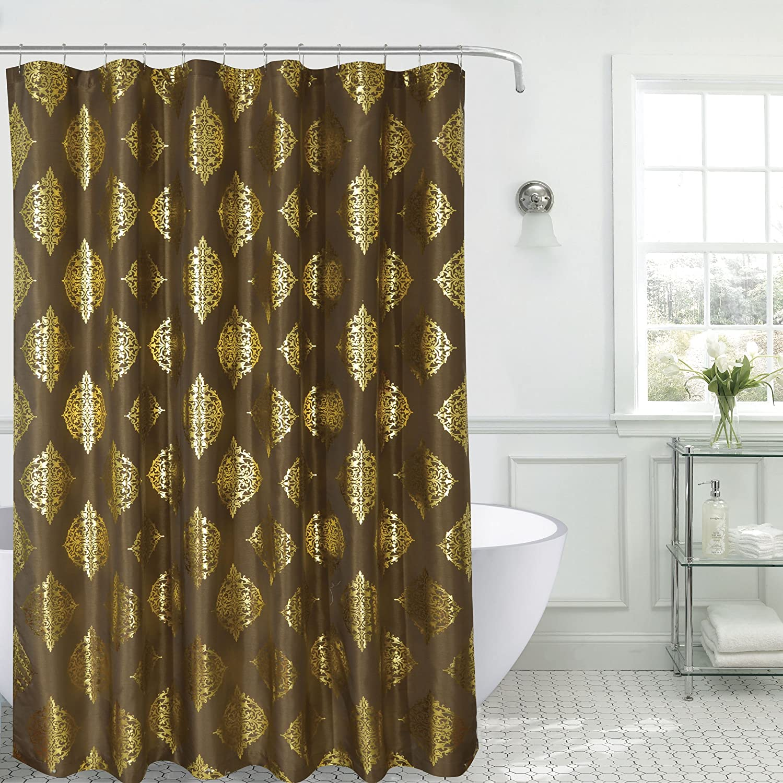 Amazon.com: SALLY TEXTILES Marla Shower Curtain Faux Silk, Coffee ...