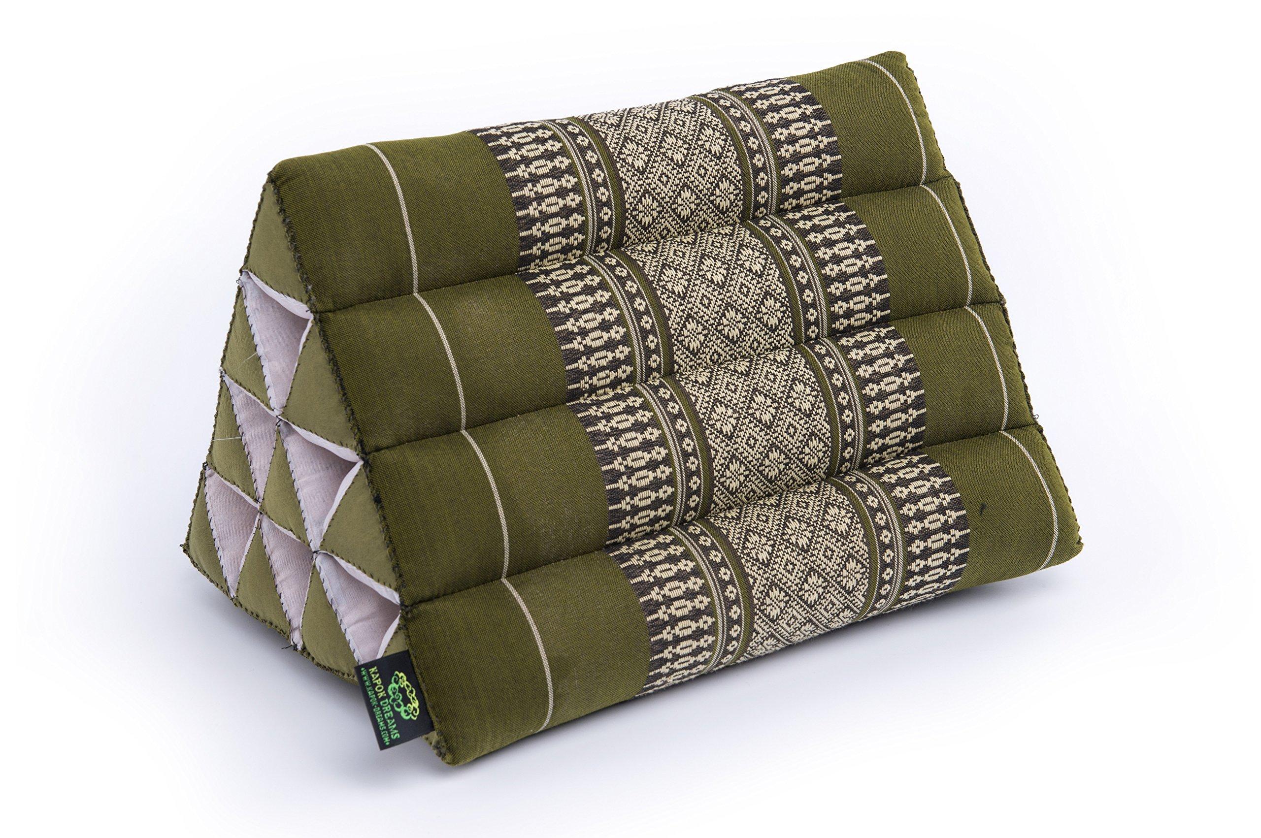 Kapok Dreams Triangle Pillow 13''x8''(Medium Size), 100% Kapok-Stuffing, Thai Design Bamboo Green.