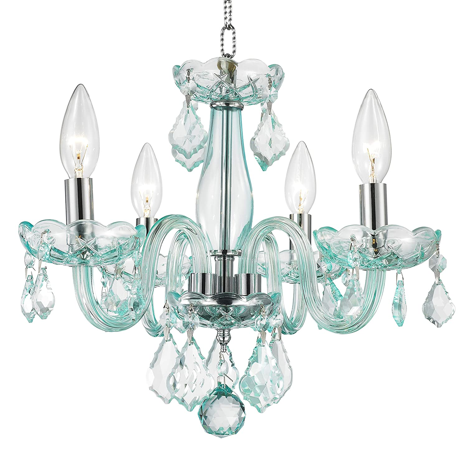 Com Worldwide Lighting W83100c16 Cb Clarion 4 Light Mini Crystal Chandelier 16 D X 12 H Chrome Finish And C Blue Turquoise Home Improvement