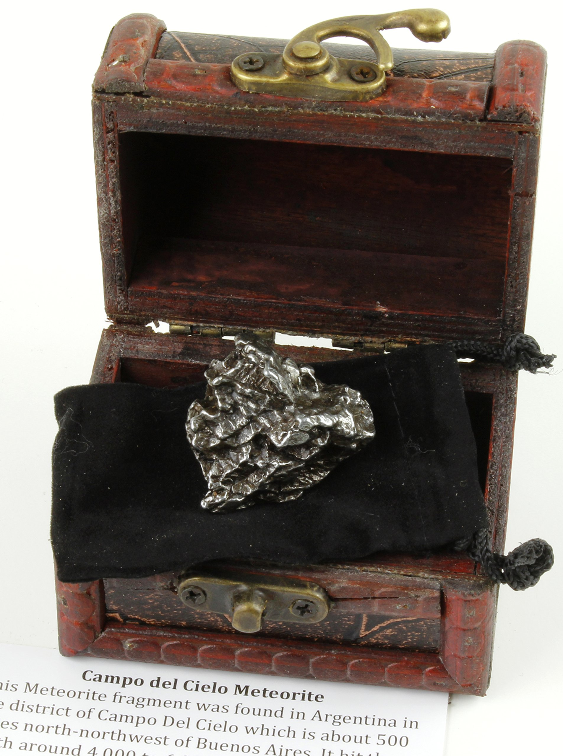 Dancing Bear Authentic Extra Large Massive 35-60 Grams Meteorite, Bonus Treasure Chest Box, Display Case, Velvet Pouch, Education Card & Certificate of Authenticity, Campo Del Cielo, Argentina, Brand