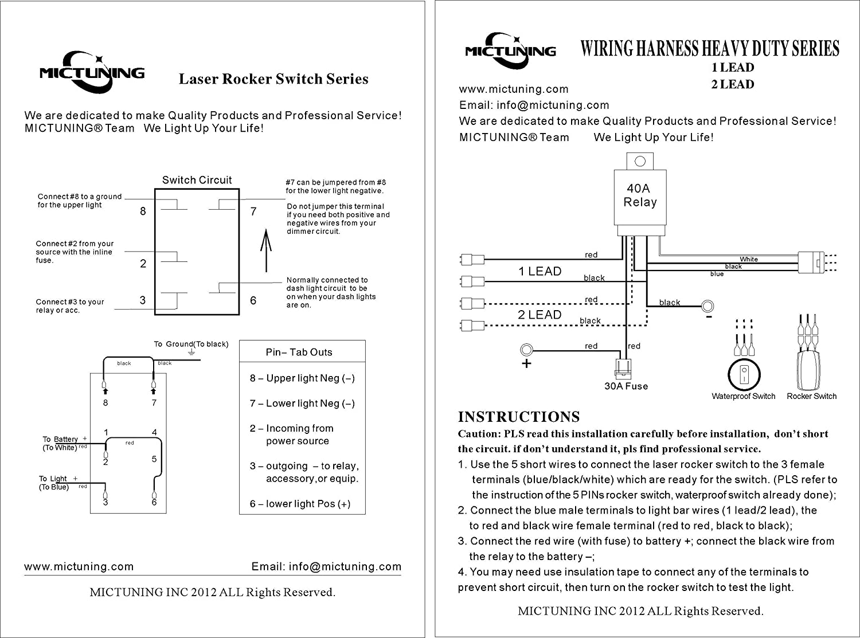 mictuning LED Light Bar Verkabelung 40 Amp Relais Sicherung 30 Amp ...