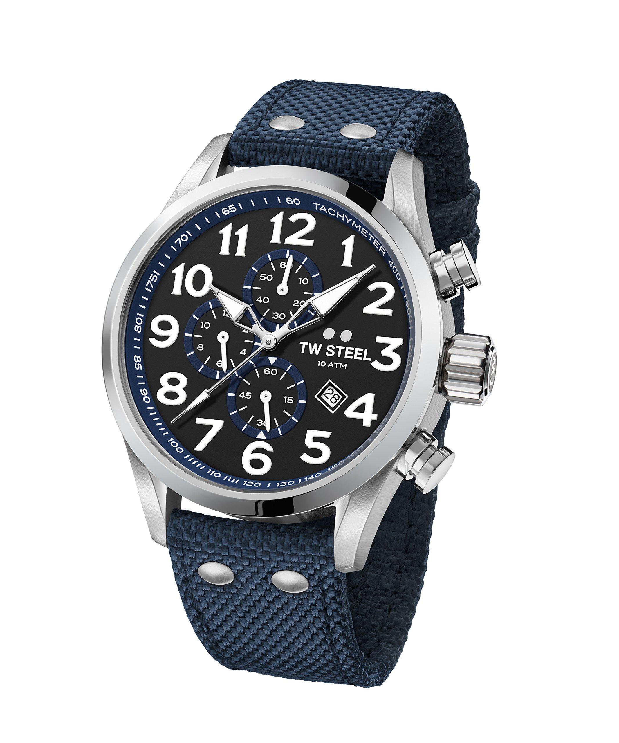 TW Steel Men's Volante Stainless Steel Japanese-Quartz Watch with Nylon Strap, Blue, 22 (Model: VS33)