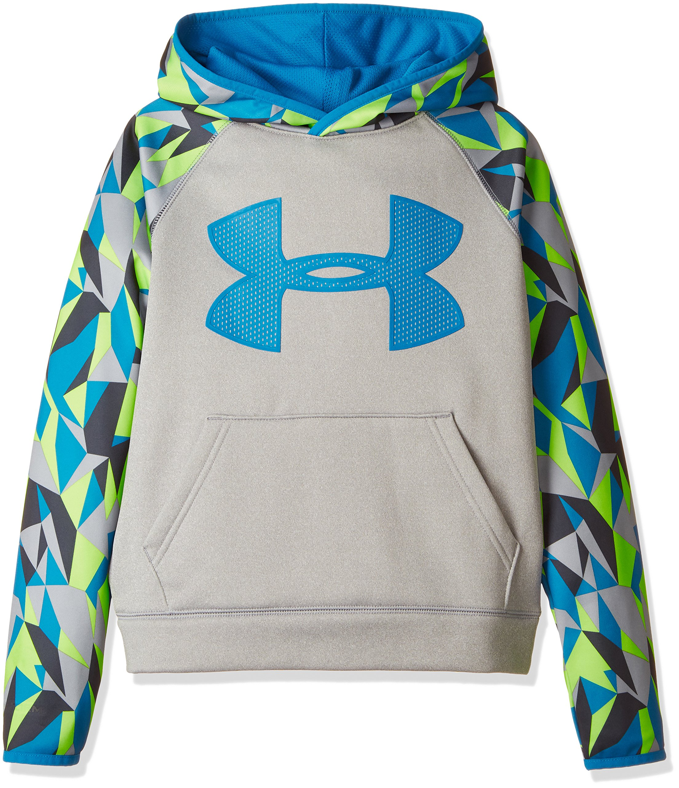Under Armour Boys' Storm Armour Fleece Big Logo Printed Hoodie,True Gray Heather (025)/Cruise Blue, Youth X-Small