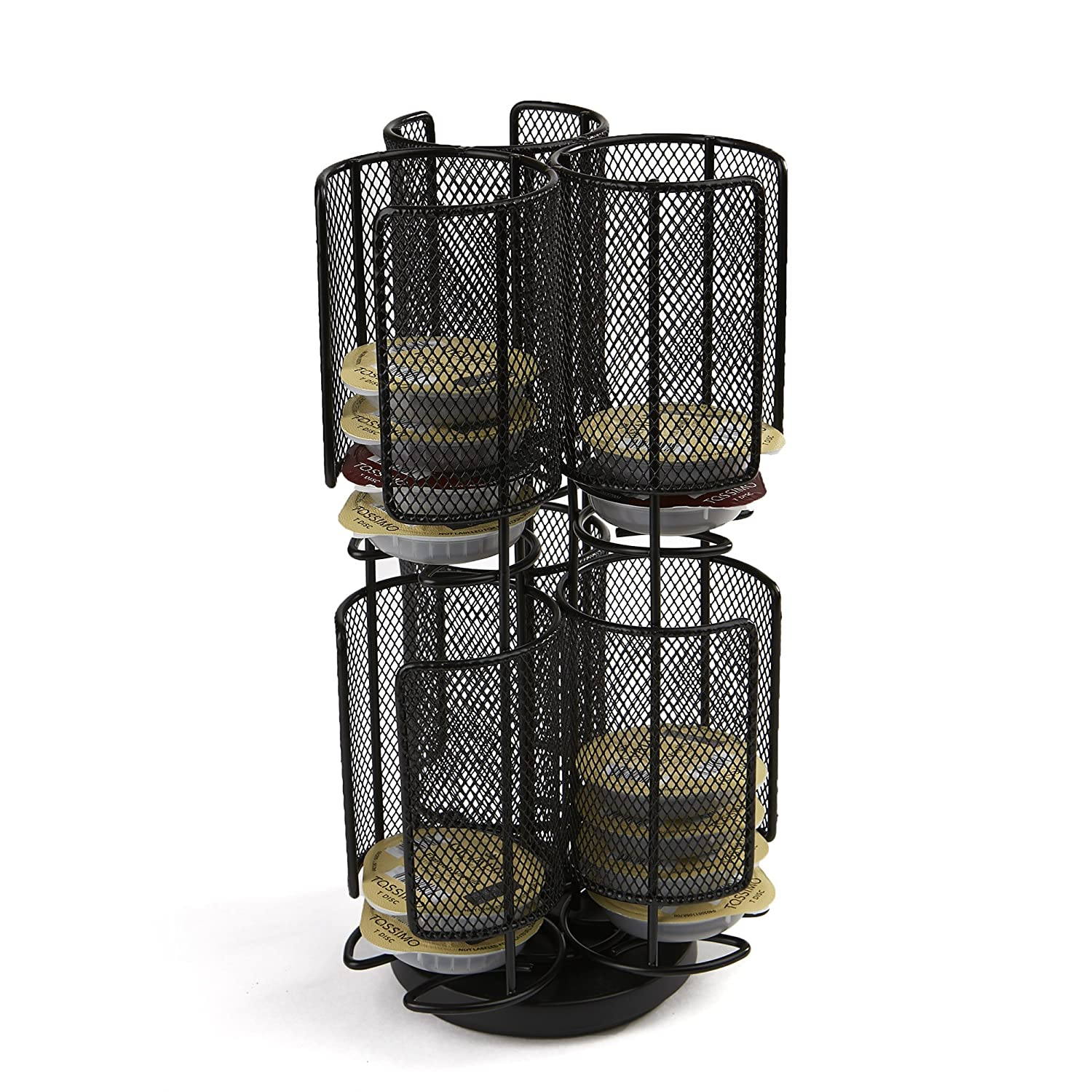 Mind Reader TASSMESH2T-BLK 2-Tier Tassimo Coffee Storage Carousel Rack, Black