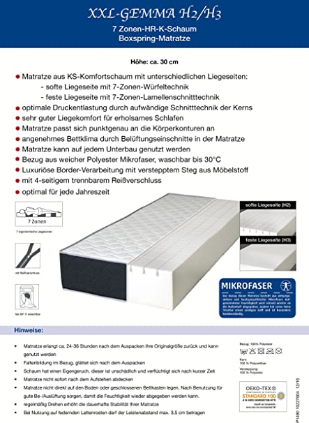 Amazon De 30cm Xxl Mammut Ultra Boxspring 7 Zonen Kaltschaum Matratze