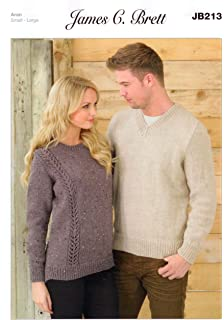 332274df02e389 Ladies and Men s Sweater JB213 Knitting Patterns from James C Brett. Knit  with Aran wool. Ladies…