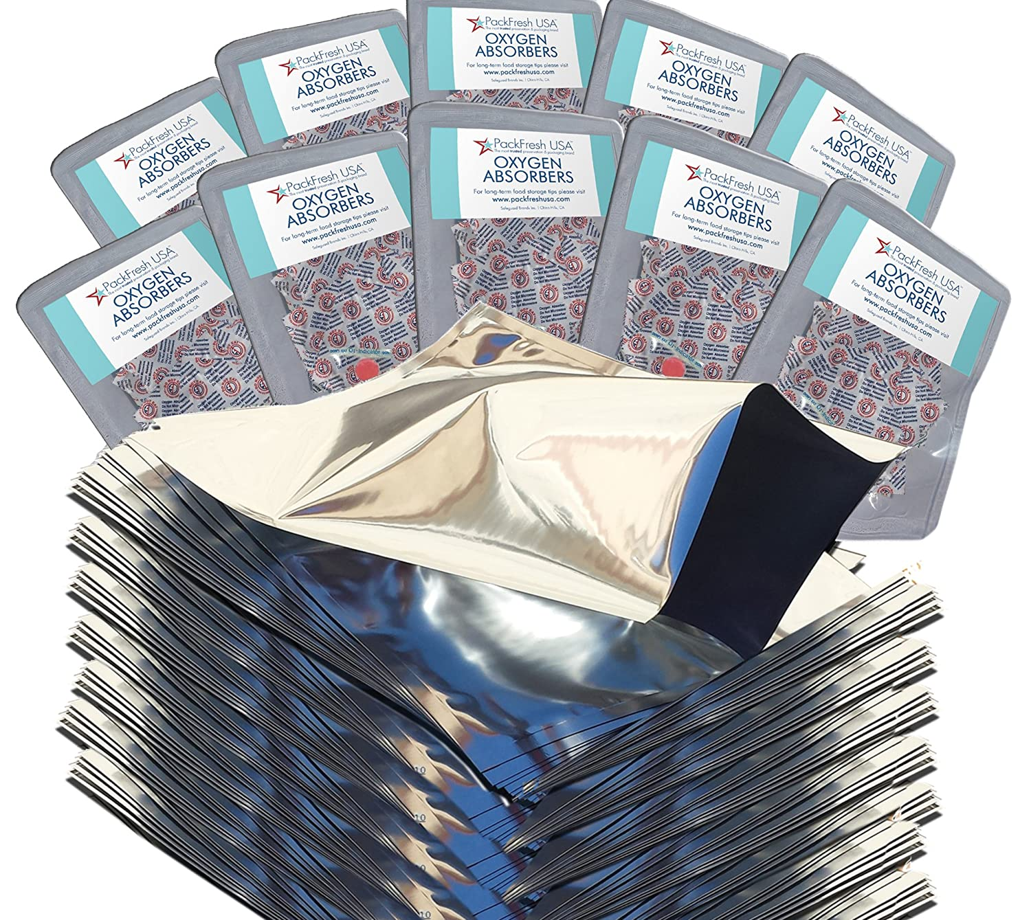 PackFreshUSA One Quart Genuine Mylar Bags with 300cc Oxygen Absorbers LTFS Guide