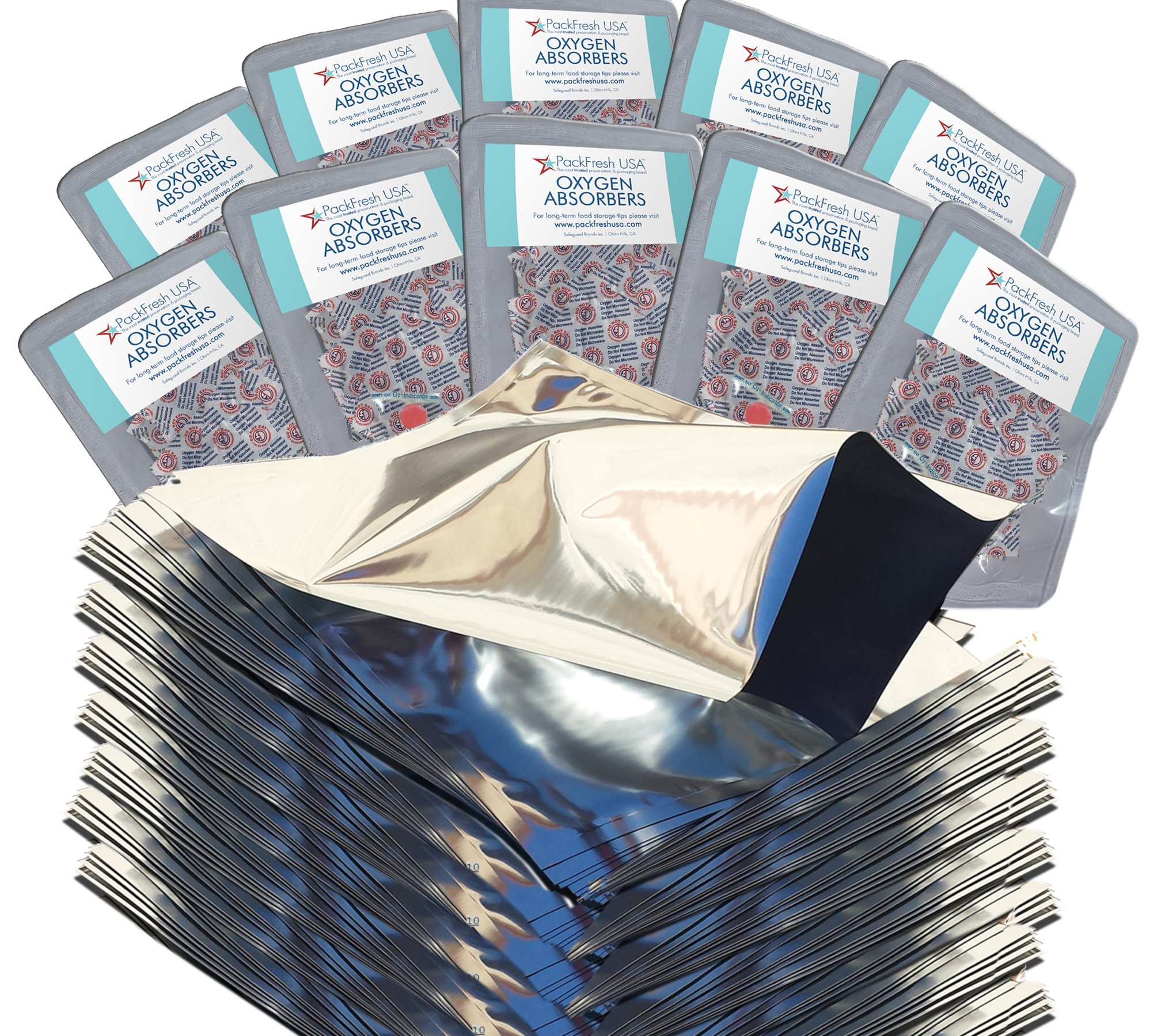 One Quart Genuine Mylar Bags (Made in USA) with 300cc Oxygen Absorbers (100)