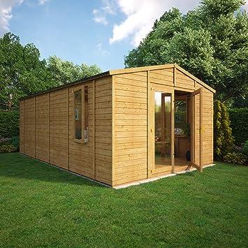 12 FT Duke de madera jardín lugar de descanso Apex Doble Puerta extra aleros (16 x 8): Amazon.es: Jardín