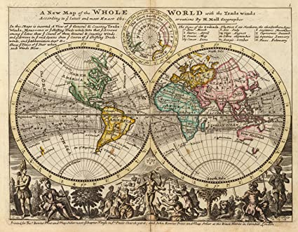 Amazon.com: A new map of the whole world with trade winds, 1736 ...