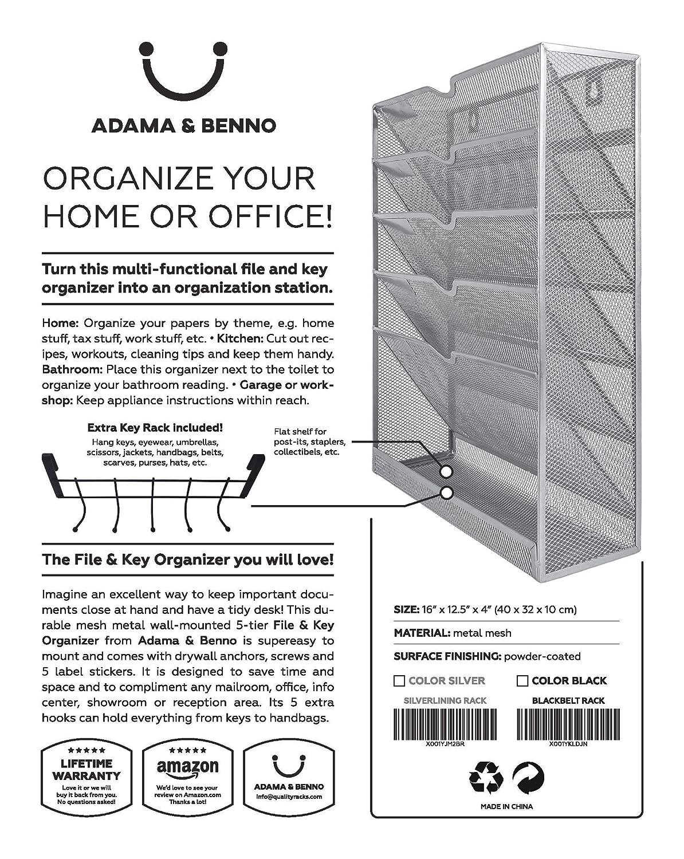 Black Adama/&Benno Hanging Wall-Mounted Metal Mesh File Organizer with Key Rack